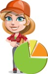Pretty Mechanic Girl Cartoon Vector Character AKA Carlita - With Pie Chart