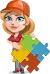Pretty Mechanic Girl Cartoon Vector Character AKA Carlita - with Puzzle