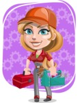 Pretty Mechanic Girl Cartoon Vector Character AKA Carlita - With Repair Tools and Cog Wheels Background