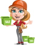 Pretty Mechanic Girl Cartoon Vector Character AKA Carlita - With Sale Boxes