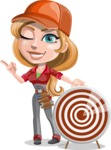 Pretty Mechanic Girl Cartoon Vector Character AKA Carlita - With Target