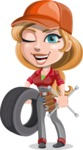 Pretty Mechanic Girl Cartoon Vector Character AKA Carlita - with Tire and tools
