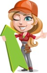 Pretty Mechanic Girl Cartoon Vector Character AKA Carlita - With Up Arrow