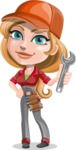 Pretty Mechanic Girl Cartoon Vector Character AKA Carlita - With Wrench
