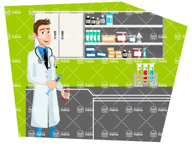 Good Health - Doctors, Medical pack of vector graphics - editable characters, items, icons, illustrations, backgrounds - Illustration 24