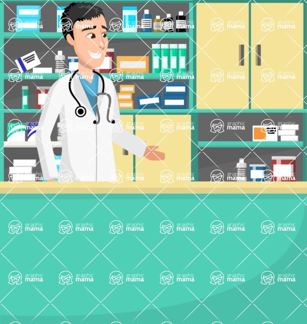 Good Health - Doctors, Medical pack of vector graphics - editable characters, items, icons, illustrations, backgrounds - Illustration 28