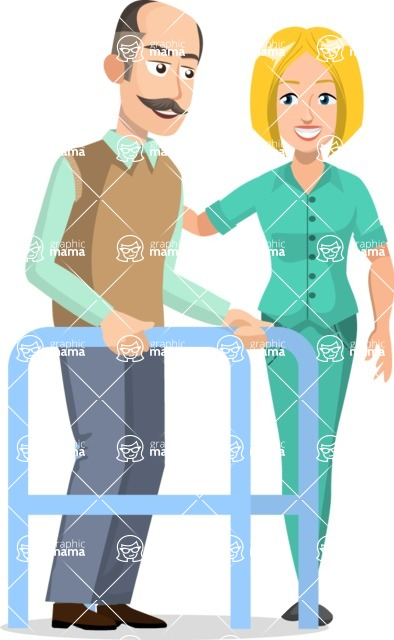 Good Health - Doctors, Medical pack of vector graphics - editable characters, items, icons, illustrations, backgrounds - Character 37