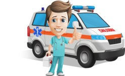 Young Doctor Cartoon Vector Character AKA Joshua Med Assistant - With Ambulance