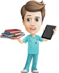 Young Doctor Cartoon Vector Character AKA Joshua Med Assistant - Choosing Between Tablet and Books