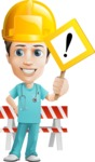 Young Doctor Cartoon Vector Character AKA Joshua Med Assistant - With Under Construction Sign