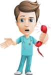 Young Doctor Cartoon Vector Character AKA Joshua Med Assistant - Emergency Help