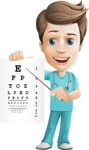 Young Doctor Cartoon Vector Character AKA Joshua Med Assistant - Pointing to Eye Chart