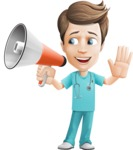 Young Doctor Cartoon Vector Character AKA Joshua Med Assistant - With Loudspeaker
