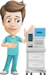 Young Doctor Cartoon Vector Character AKA Joshua Med Assistant - With ECG Machine