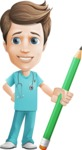 Young Doctor Cartoon Vector Character AKA Joshua Med Assistant - With Pencil