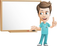 Young Doctor Cartoon Vector Character AKA Joshua Med Assistant - With Blank Blackboard