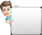 Young Doctor Cartoon Vector Character AKA Joshua Med Assistant - Pointing to a Whiteboard with a Hand
