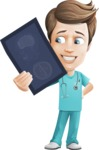 Young Doctor Cartoon Vector Character AKA Joshua Med Assistant - Holding Radiography