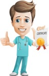 Young Doctor Cartoon Vector Character AKA Joshua Med Assistant - With a Certificate