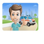 Young Doctor Cartoon Vector Character AKA Joshua Med Assistant - With City Landscape and Ambulance Illustration
