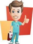 Young Doctor Cartoon Vector Character AKA Joshua Med Assistant - With Medical Briefcase and Flat Background Illustration