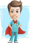Young Doctor Cartoon Vector Character AKA Joshua Med Assistant - Being Super Doctor Illustration with Background