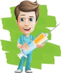 Young Doctor Cartoon Vector Character AKA Joshua Med Assistant - Curing with Smile Illustration with Colorful Background