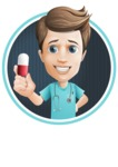 Young Doctor Cartoon Vector Character AKA Joshua Med Assistant - With Pill and Cool Background Illustration