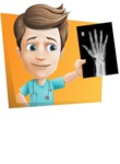 Young Doctor Cartoon Vector Character AKA Joshua Med Assistant - With X-Ray and Flat Shape Background