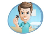 Young Doctor Cartoon Vector Character AKA Joshua Med Assistant - With Stethoscope and Hospital Background Illustration