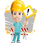 Young Doctor Cartoon Vector Character AKA Joshua Med Assistant - Dressed as a Construction Worker with Simple Shapes Background