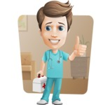 Young Doctor Cartoon Vector Character AKA Joshua Med Assistant - With Office Background Illustration