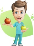 Young Doctor Cartoon Vector Character AKA Joshua Med Assistant - An Apple A Day Keeps the Doctor Away Illustration Concept