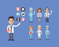 Medical Vectors - Mega bundle - Medical Staff Vector Illustration with Doctors, Nurses and Surgeon