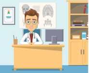 Medical Vector Collection - Doctor in Hospital Office Vector Illustration