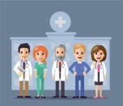 Medical Vector Collection - Doctor Team on a Hospital Background Vector Illustration