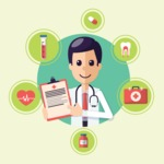 Medical Vector Collection - Doctor with Medical Notepad Vector Illustration