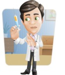 Doctor with Stethoscope Cartoon Vector Character AKA Dr Matthews GP - Shape 6