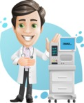 Doctor with Stethoscope Cartoon Vector Character AKA Dr Matthews GP - Shape 8