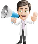 Doctor with Stethoscope Cartoon Vector Character AKA Dr Matthews GP - Loudspeaker
