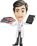 Doctor with Stethoscope Cartoon Vector Character AKA Dr Matthews GP - Books vs iPad
