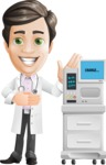 Doctor with Stethoscope Cartoon Vector Character AKA Dr Matthews GP - Machine