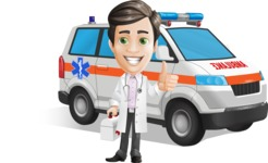 Doctor with Stethoscope Cartoon Vector Character AKA Dr Matthews GP - Ambulance