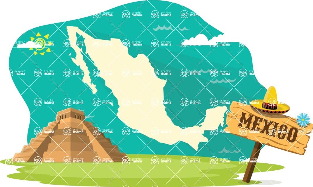 Mexico Vectors - Mega Bundle - Mexico Map with Mayan Pyramid