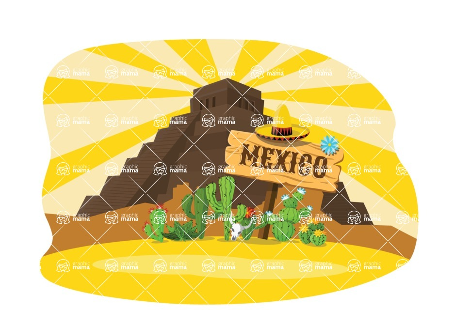 Mexico Vectors - Mega Bundle - Mayan Pyramid in Mexican Desert