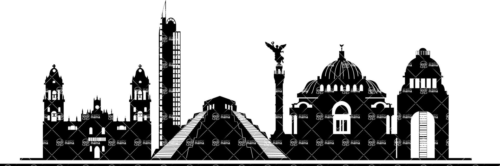 Mexico Vectors - Mega Bundle - Mexico City Landmarks Silhouettes