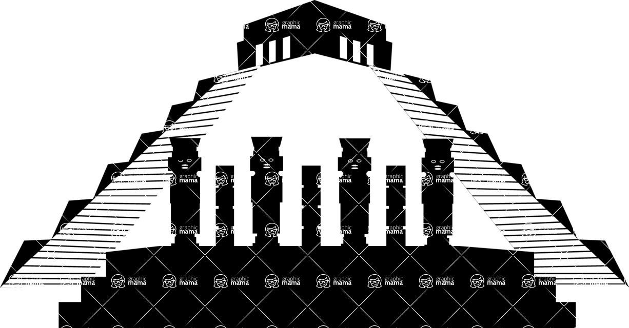 Mexico Vectors - Mega Bundle - Mayan Pyramid and Columns Silhouettes