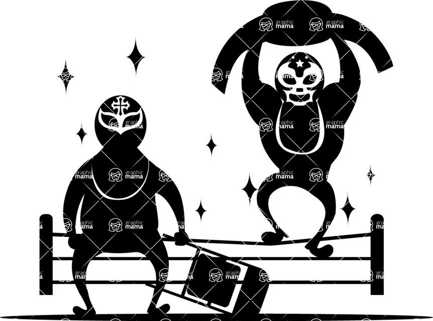 Mexico Vectors - Mega Bundle - Mexican Wrestlers Silhouette