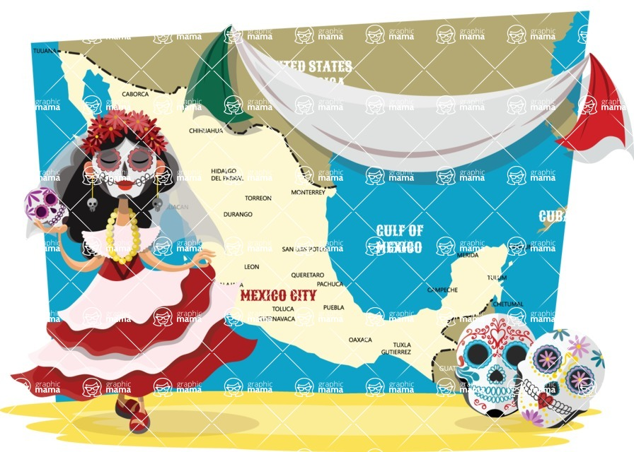 Mexico Vectors - Mega Bundle - Day of the Dead Mexican Holiday