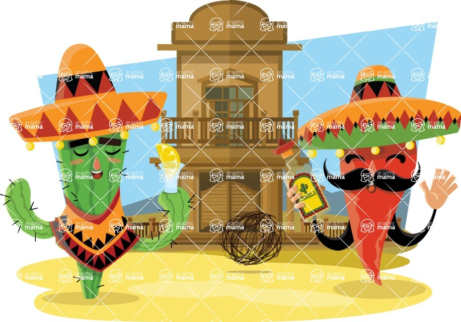 Mexico Vectors - Mega Bundle - Mexican Cactus and Pepper with Sombreros